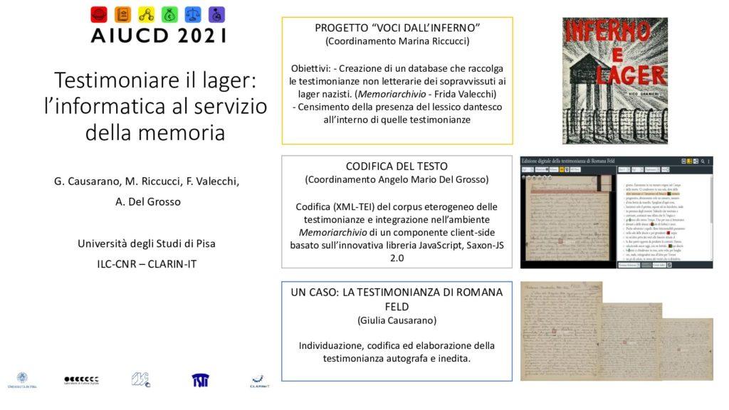 Giulia Causarano, Marina Riccucci, Frida Valecchi and Angelo Mario Del Grosso - Testimoniare il Lager: l'informatica al servizio della memoria