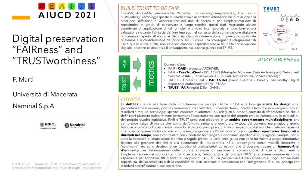 """Federica Marti - Digital preservation """"FAIRness"""" and """"TRUSTworthiness"""": i principi FAIR e TRUST nei contesti di conservazione digitale"""
