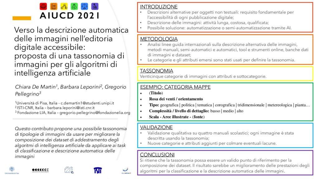 Chiara De Martin, Barbara Leporini and Gregorio Pellegrino - Verso la descrizione automatica delle immagini nell'editoria digitale accessibile: proposta di una tassonomia di immagini per gli algoritmi di intelligenza artificiale