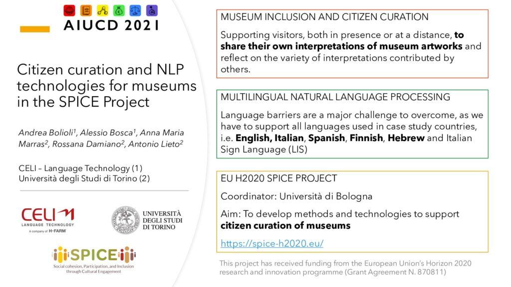 Rossana Damiano, Andrea Bolioli, Antonio Lieto, Anna Maria Marras and Alessio Bosca - Citizen curation and NLP technologies for museums in the SPICE Project